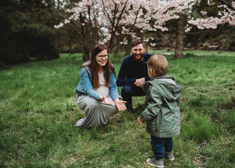 sesja ciążowa na tle wkitnących drzew Łódź